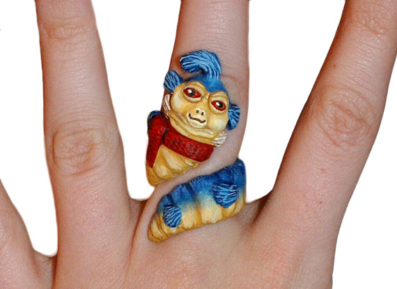 Ello Worm Handmade Sculpted Ring inspired by Labyrinth