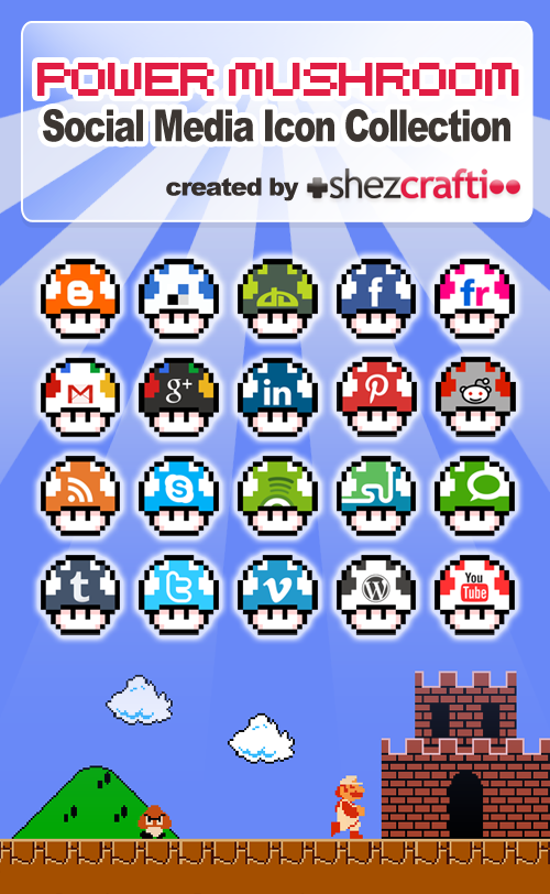 Set of 20 Power Mushroom Social Media Icons (Super Mario)