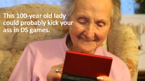 100 Year Old Lady Playing DS