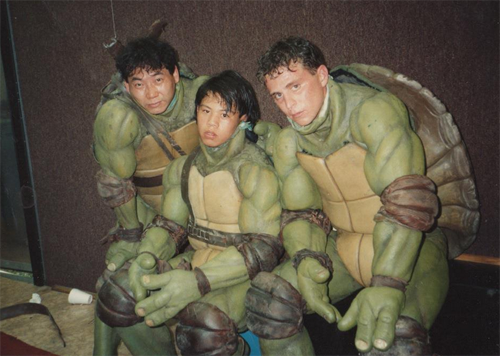 The stunt actors inside the Turtle costumes.