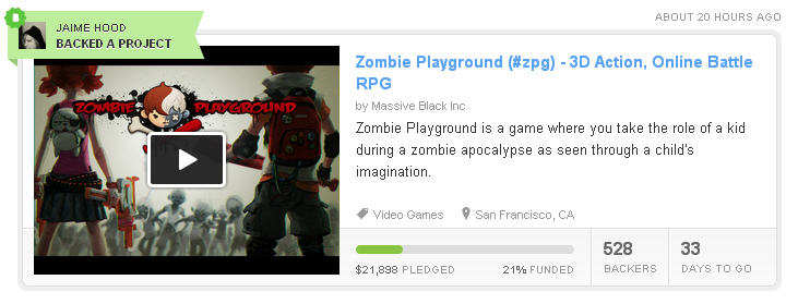 I Backed Zombie Playground on KickStarter!