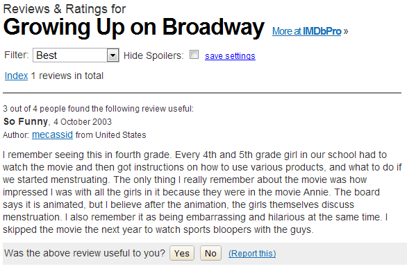 IMDB Review of Growing Up on  Broadway