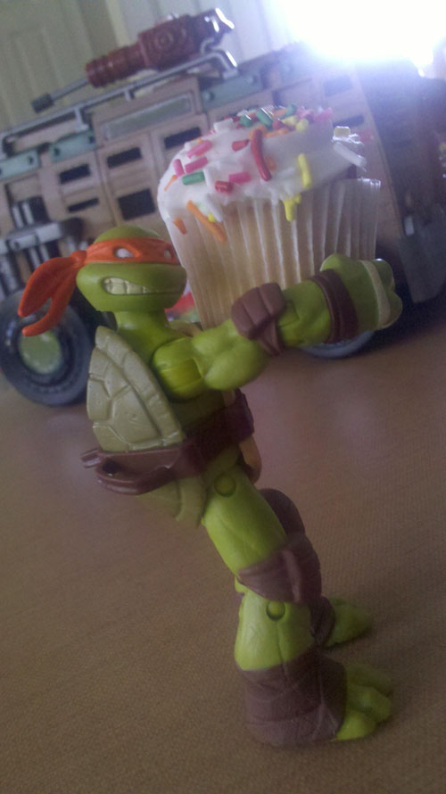 Mikey Sneaking Off with Cupcake
