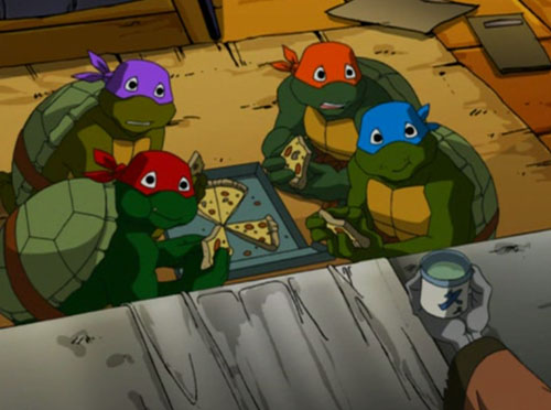 Toddler Turtles Eating Pizza