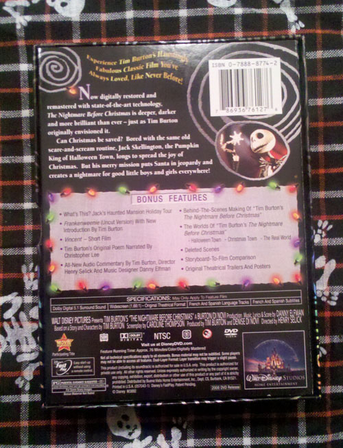 The Nightmare Before Christmas - Back Cover