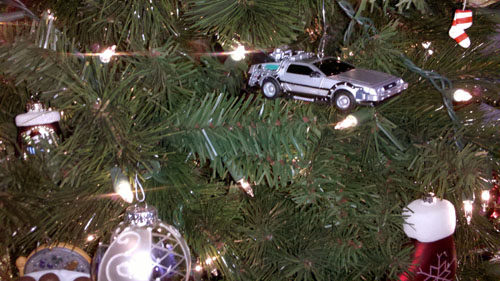 There's a time machine hanging on my Christmas tree!