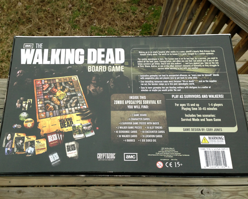 Walking Dead Board Game Back Cover