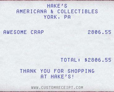 Hake's Receipt